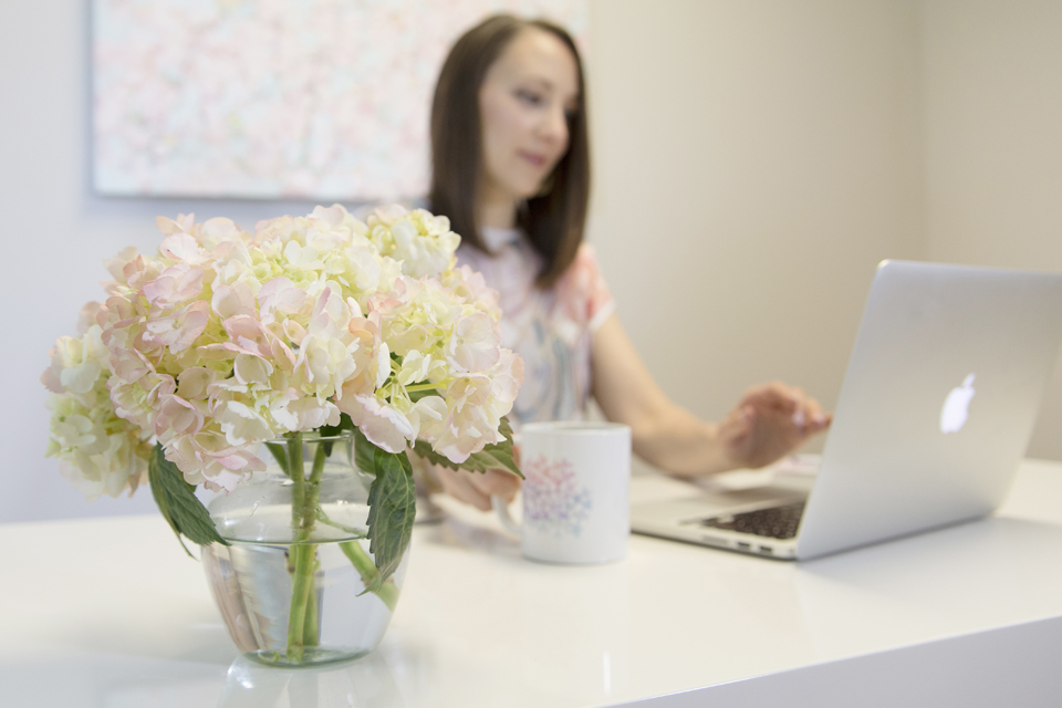 Pure Nurture personal branding working in office at Play Work or Dash